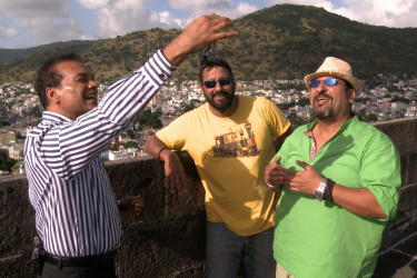 Rocky & Mayur get 'keys to paradise' from Dr. Karl Mootoosamy, Director of MTPA at Fort Adelaide, Mauritius
