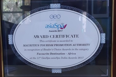 """Mauritius awarded the """"Best Spa Destination-Africa"""" at the Asia Spa Awards"""